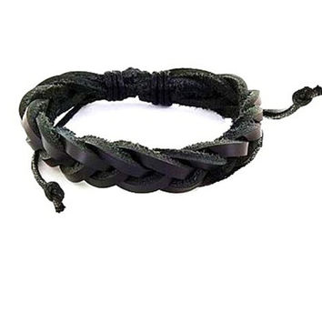 Braided Black Leather Bracelet Unisex Free US Shipping