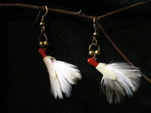 Vintage Feathered Fishing Lure Earrrings Off White and Red Colors