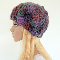 Hand knit cloche hat with crochet flower - multi color knit cloche - purple beanie with flower - purple hat