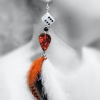 Earrings - Dice, Guitar Picks, Feathers, Dots, Black, Red, White, Crystal Beads, Sterling Hooks -OOAK Jewelry