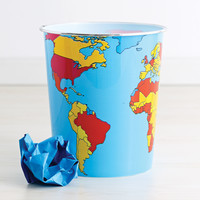 World Map Waste Can