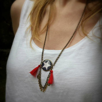 Boho two tassels necklace. Trendy Necklace. 4th of july Star Necklace. Brass chain and resin.