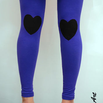 Black heart patched leggings in violet / lilac