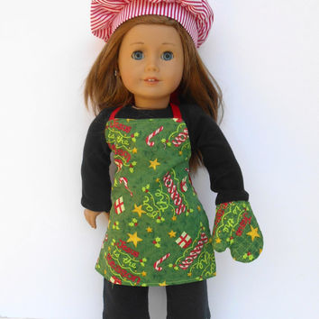 18 Inch Doll Chef's Set, Christmas Apron, Jesus is the Reason Apron, Oven Mitt, Red and White Striped Chef's Hat, fits American Girl Dolls