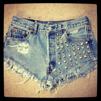 Studded and destroyed Levi&#x27;s short shorts