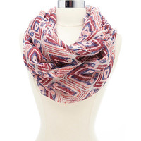 Geometric Print Infinity Scarf by Charlotte Russe - Ivory Combo