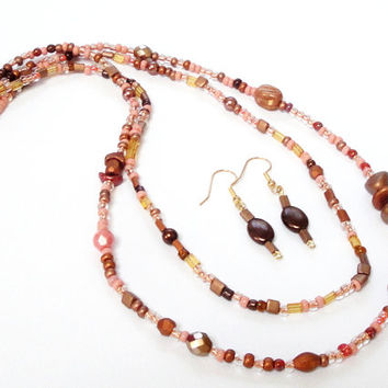 Brown Layers Czech  Necklace, Layered  Brown Glass Necklace Earrings Set, Multi Strand  Necklace