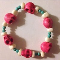 Hannah Bracelet - Candy Pink Skulls with Bone and Turquoise Beads
