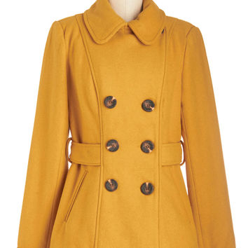 ModCloth Mid-length Long Sleeve Double Breasted Farm Here to Eternity Coat in Mustard
