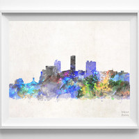 Barquisimeto Skyline, Watercolor, Venezuela, Poster, Dorm, Print, Cityscape, Painting, Illustration Art Paint, Wall, Home Decor [NO 624]