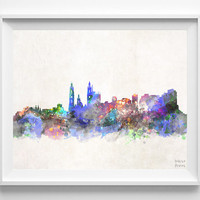 Barranquilla Skyline, Watercolor, Colombia, Poster, Colombian, Print, Cityscape, Painting, Illustration Art Paint, Wall, Home Decor [NO 622]