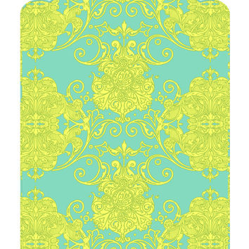 Wall Decal Headboard - Swirly Damask - Scallop Top - Turquoise Green and Yellow - Twin