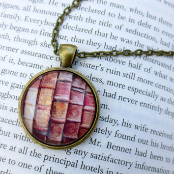 Book Necklace Bookshelf Library Reading