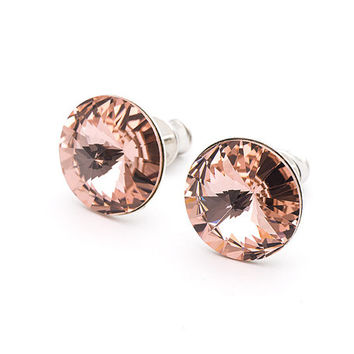 Rose Swarovski Earrings Rivoli Stud Earrings Vintage Rose Swarovski Studs Sterling Silver Earrings Post Earrings Swarovski Jewelry