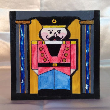 "Nutcracker, Christmas Nutcracker, Painting, Original, Watercolor and Acrylic, 4""x4"" square, 1"" wide Cradled Wood, ""Nutty Red"" Guard"
