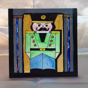 "Nutcracker, Christmas Nutcracker, Painting, Original, Watercolor and Acrylic, 4""x4"" square, 1"" wide Cradled Wood, ""Nutty Green"" Guard"