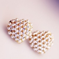 Pearl Heart Rhinestone Statement Earrings