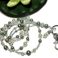 Lanyard Beaded Id Necklace with Powder Green and White Swarovski Crystals and Pearls Strong Magnetic Breakaway Clasp Added Angel
