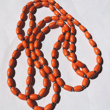 Orange Beaded Necklace, Retro Long, Wooden Necklace, 50 Inches Vintage Necklace,vintage jewelry,costume jewelry (5kbx)