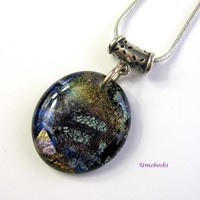 Rich Earth Tone Handmade Dichroic Fused Glass Cabochon Pendant