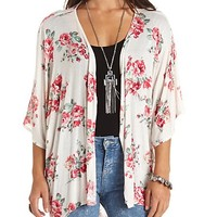 Knit Floral Print Kimono Cardigan by Charlotte Russe - White Combo