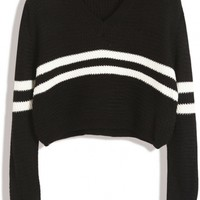 Sweet Striped Knit Cropped Sweater - OASAP.com