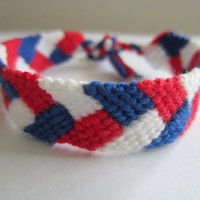 London 2012 Olympics Patriotic Red White and Blue Chevron Braided Friendship Bracelet