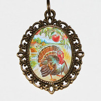 Turkey Necklace, Thanksgiving Jewelry, Oval Pendant