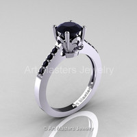 Classic 14K White Gold 1.0 Carat Black Diamond Solitaire Wedding Ring R101-14WGBD