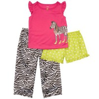 Girl`s 3 Piece Zebra Pajama Set Shorts Pants Top Pink/Lime Green