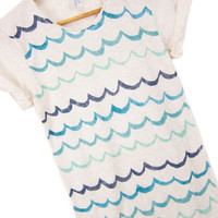 Waves - Hand STENCILED Scoop Neck Pinned Rolled Cuffs Ditsy Striped Women's Tee in Heather Cream and Ocean Blue Teal - S M L XL 2XL 3XL