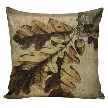 Throw Pillow Cover - Vintage French Acorn Oak Fall Autumn Harvest Cotton & Burlap Home Decor HA-50