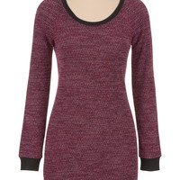 marled sweater dress with elbow patches