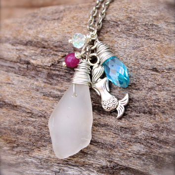 Sea Glass Necklace - Mermaid Jewelry from Hawaii - Mermaid Necklace - Sea Glass Jewelry made in Hawaii by Mermaid Tears - Hawaiian Jewelry
