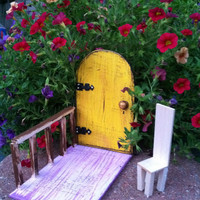 Garden Fairy Door, Magic, Fantasy, distressed yellow,outside decor