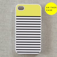 iphone 4 case, iphone 4s case, iphone case - stripes, yellow, white, black, iphone 4 cover, iphone 4s cover, case for iphone 4