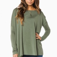 COZY LONG SLEEVE TOP IN DUSTY JADE BY PIKO