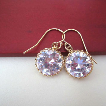 Elegant Cubic Zirconia Circle Drop Earrings - 14k Gold-Filled Ball End Earwires