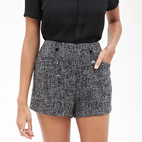 FOREVER 21 High-Waisted Tweed Shorts Grey/Black