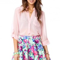 PURE CHIFFON BLOUSE IN BLOOM