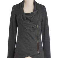 Airport Greeting Cardigan in Charcoal