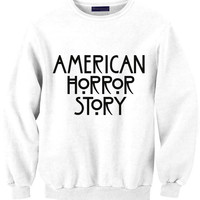 AMERICAN HORROR STORY sweat sweater Tumblr blanc unisexe  women grey black white sweatshirt tumblr graphic size S M L one direction louis