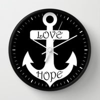 Black & White Love Hope Anchor Wall Clock by Beautiful Homes