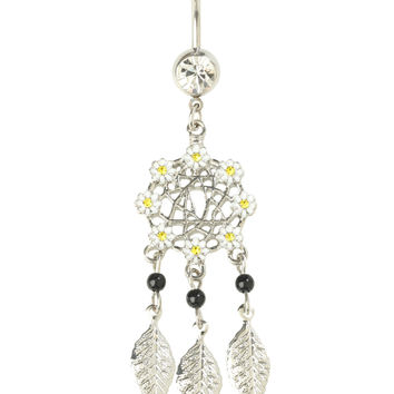 14G Steel Daisy Dreamcatcher Navel Barbell