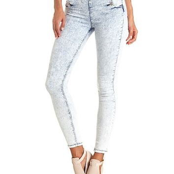 High-Waisted Sailor Button Acid Wash Skinny Jeans - Lt Acid Wash