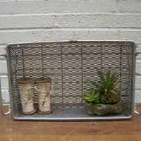 Vintage, 1950's, Rustic steel and wire basket with handles. Original. Made in Detroit.