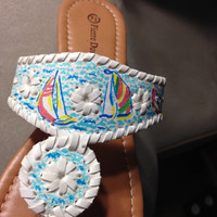 """Lilly Pulitzer Inspired Hand-Painted Jack Rogers Look-Alikes in """"You Gotta Regatta"""""""