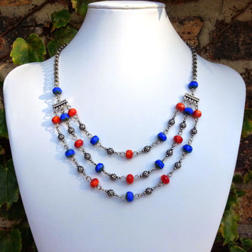Blue and Orange Red Multi Strand Necklace, Czech Glass Necklace, Triple Strand Necklace, Wire Wrapped Jewelry, Statement Necklace