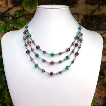 Czech Glass Teal Necklace, Adjustable Triple Strand Necklace, Wire Wrapped Jewelry, Statement Raspberry Necklace, Multi Strand Necklace