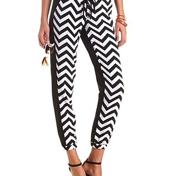 DRAWSTRING CHEVRON COLOR BLOCK JOGGER PANTS
